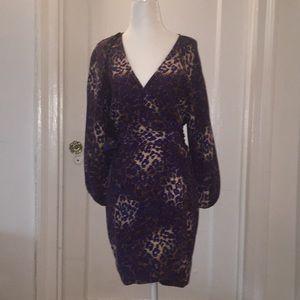 Parker animal printed silk wrap dress